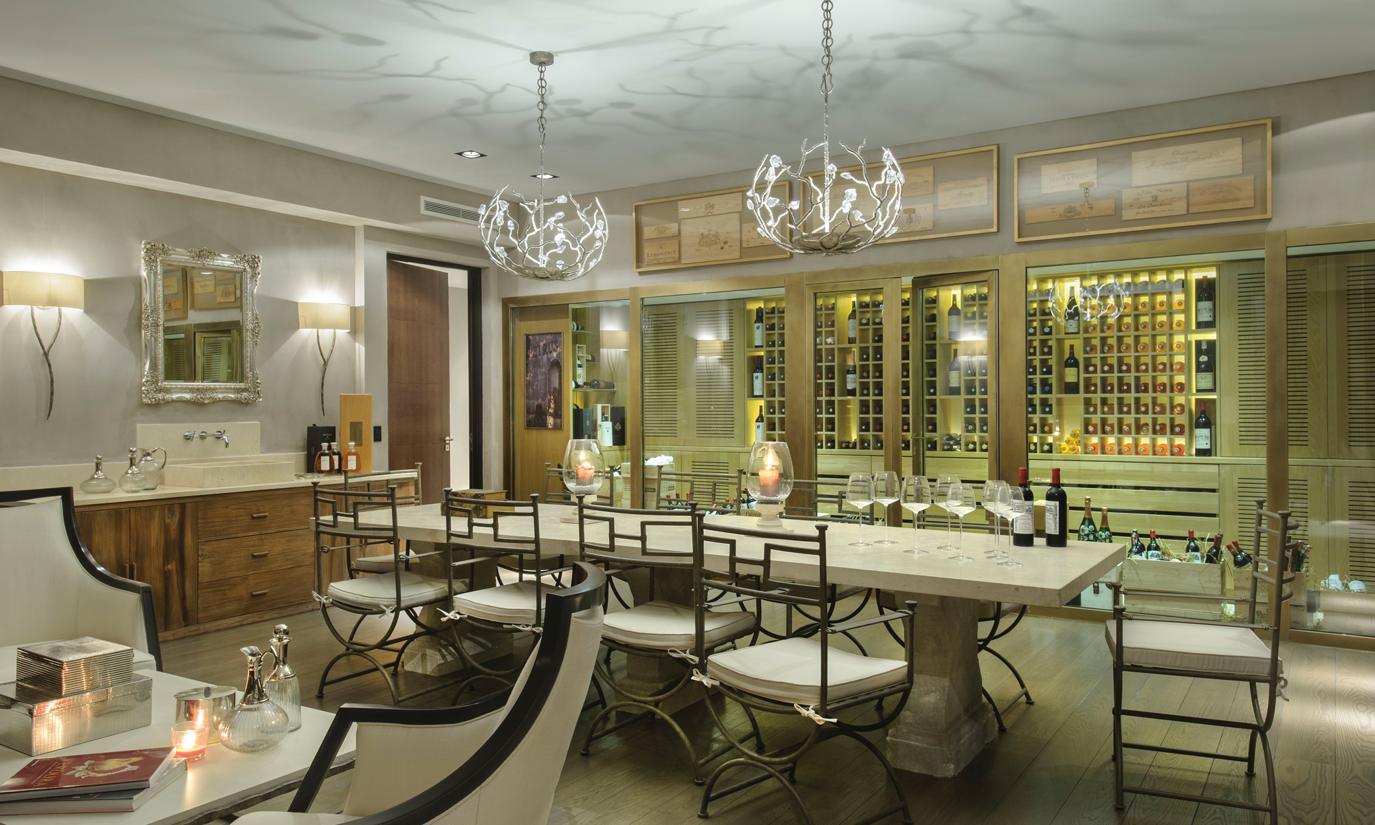 Enjoy your very own wine cellar and sommelier table.