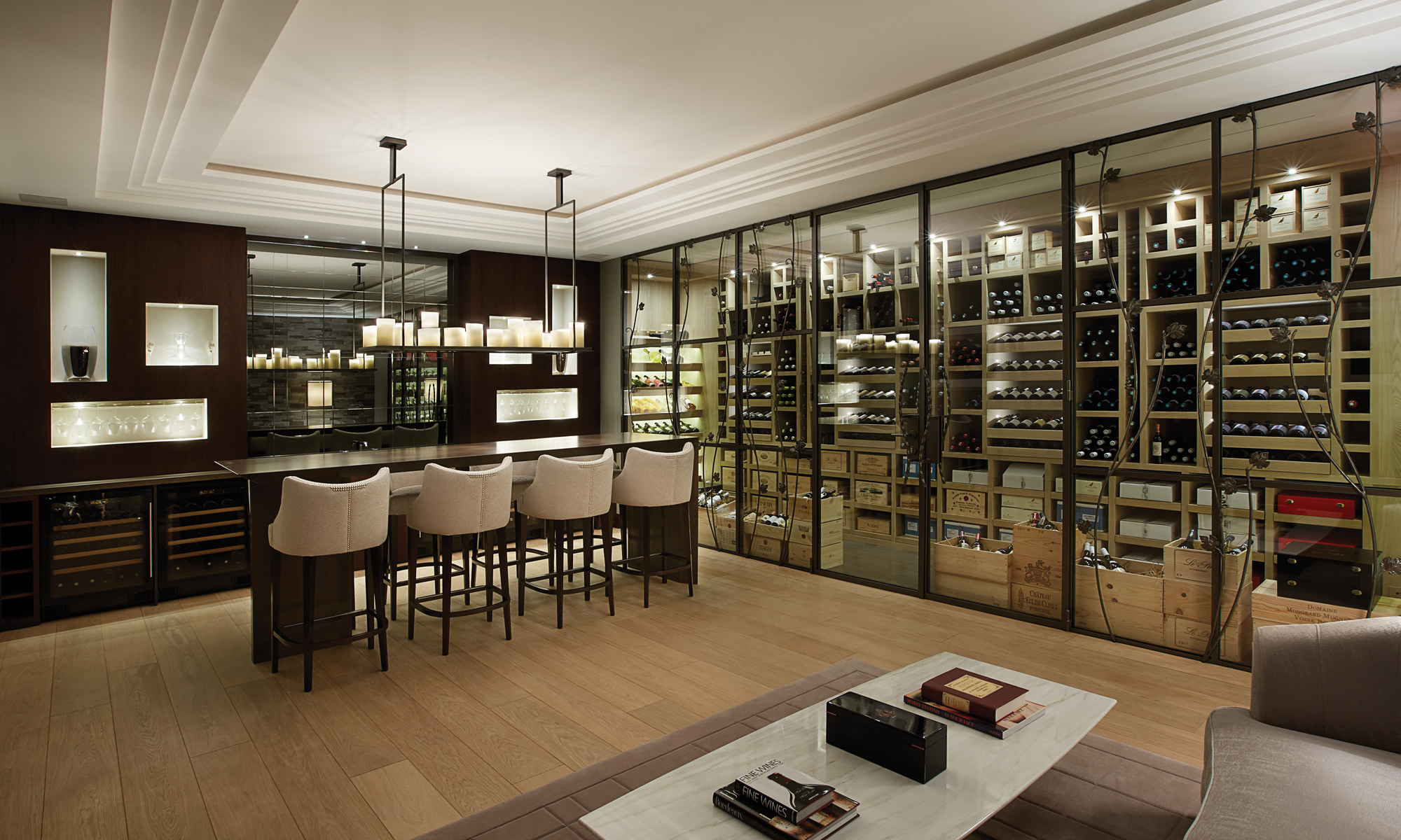 Enjoy your very own temperature controlled wine cellar and sommelier experience.