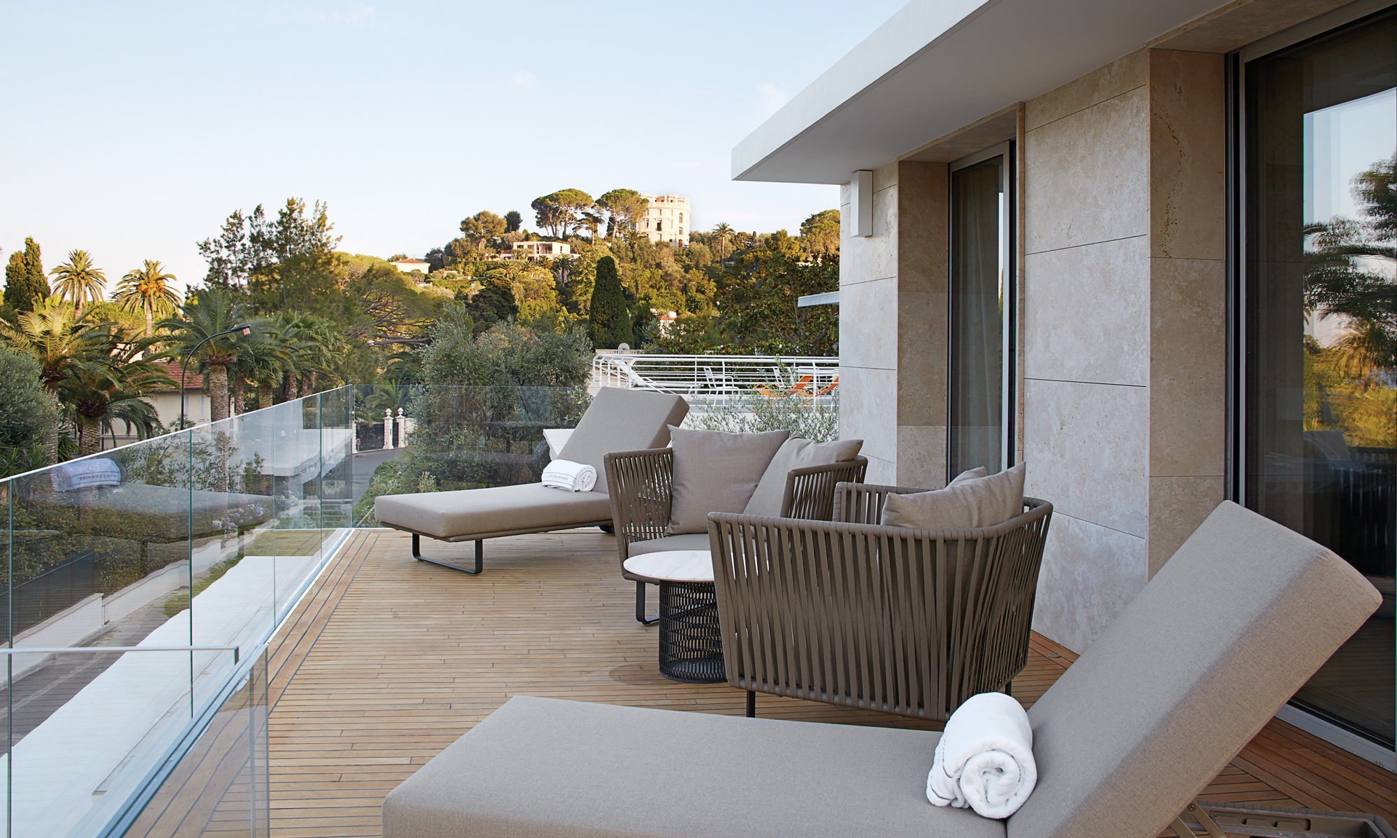 THe third villa has its own private terrace with stunning panoramic views.