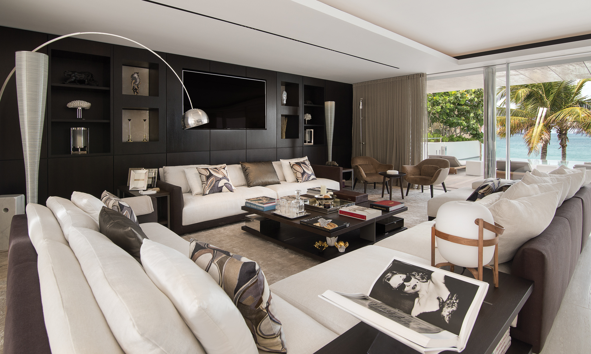 Spacious open plan living room with views of Flamands beach.