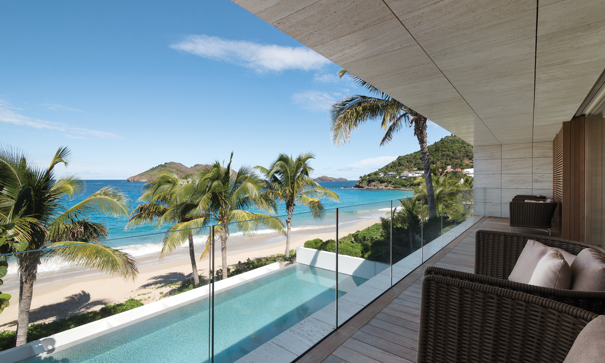 The master suite has its own private terrace overlooking Flamands beach.