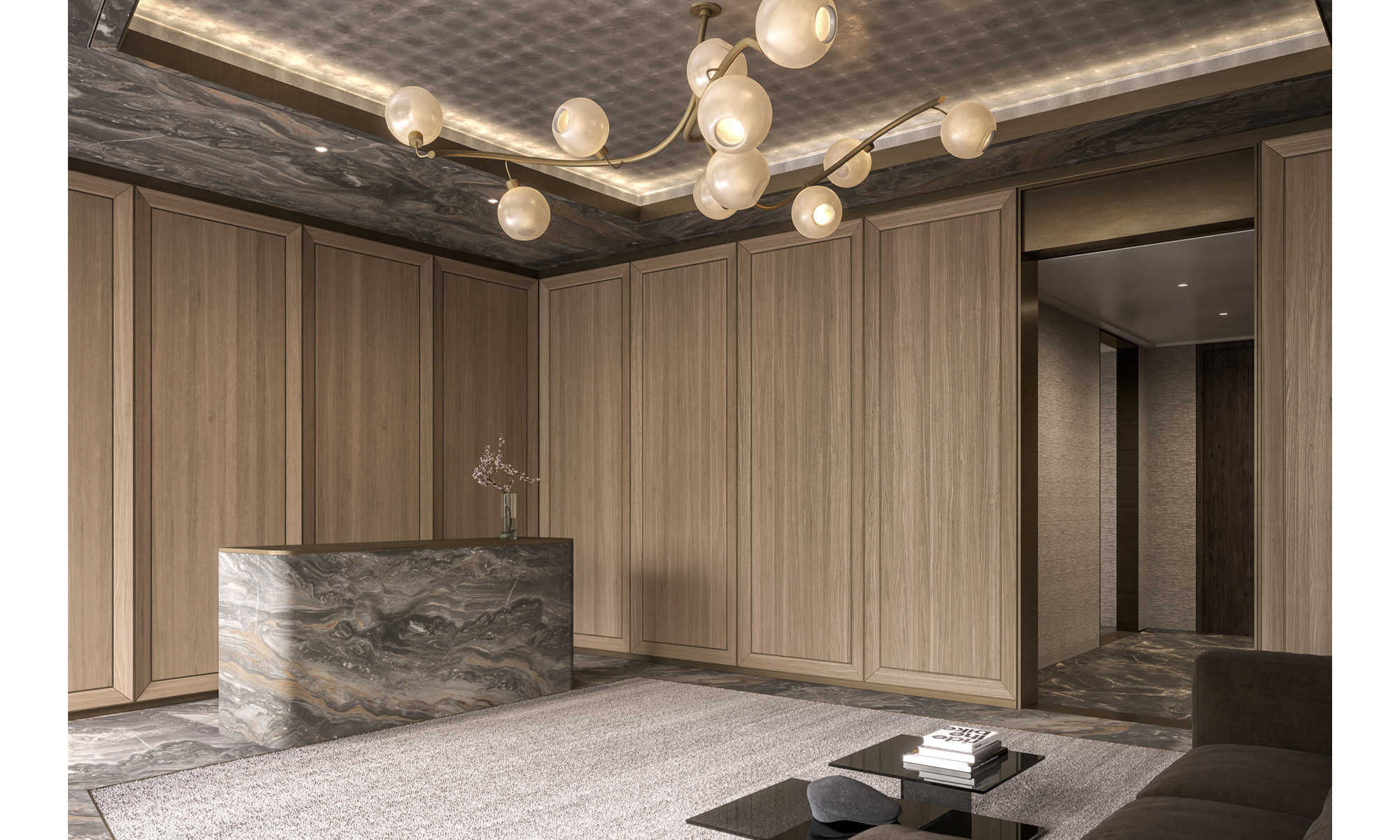 Artist's impression of the 401 West entrance lobby and concierge desk.