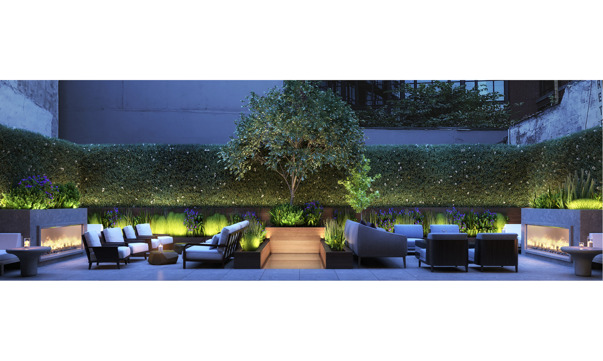 Artist's impression of the 401 West bar and restaurant outdoor terrace.