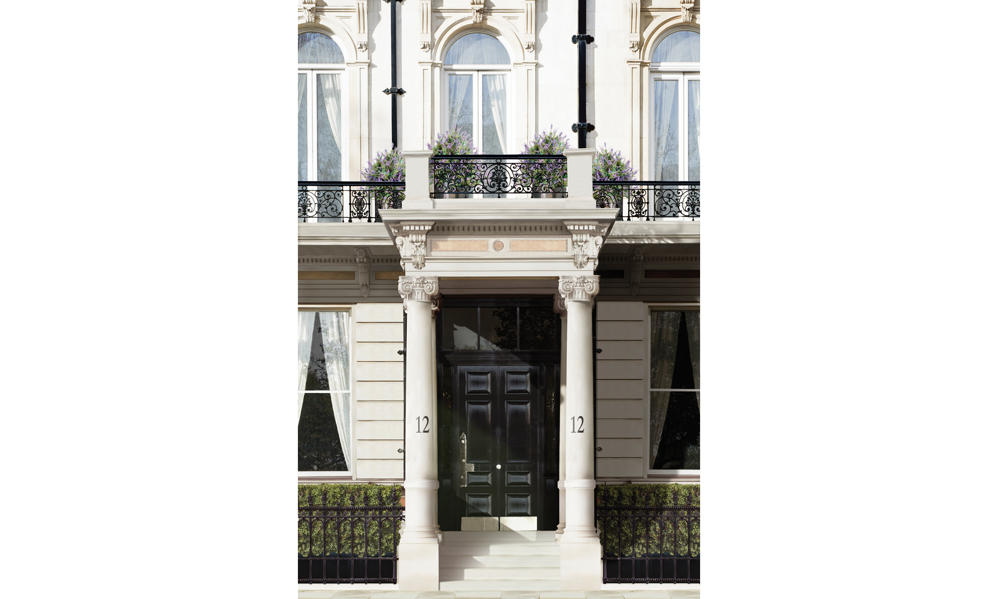 Portico columned apartment entrance doorway at Belgravia Gate.