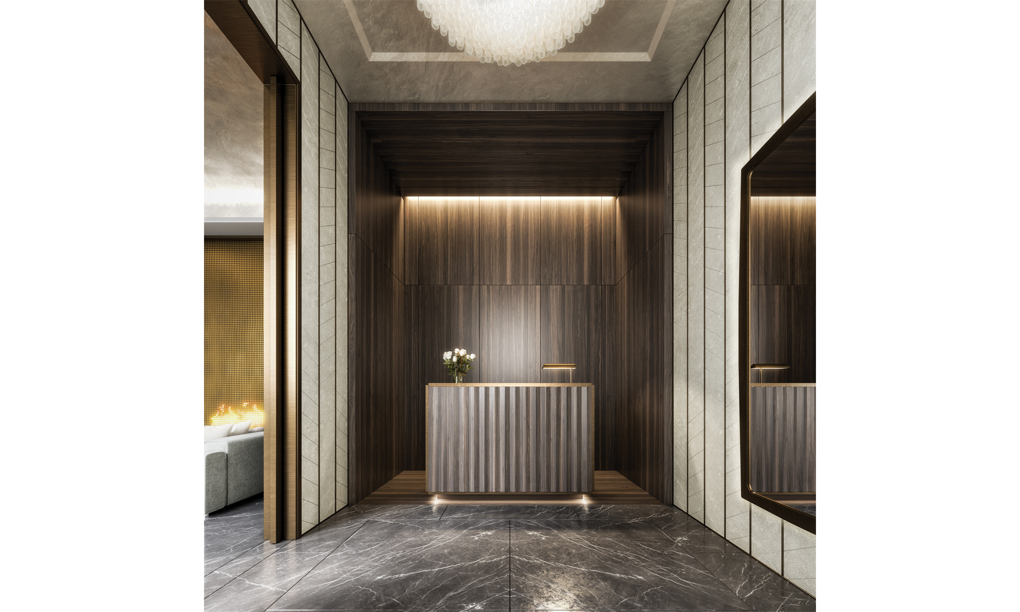 Artist's impression of the entrance lobby and concierge desk at Belgravia Gate.