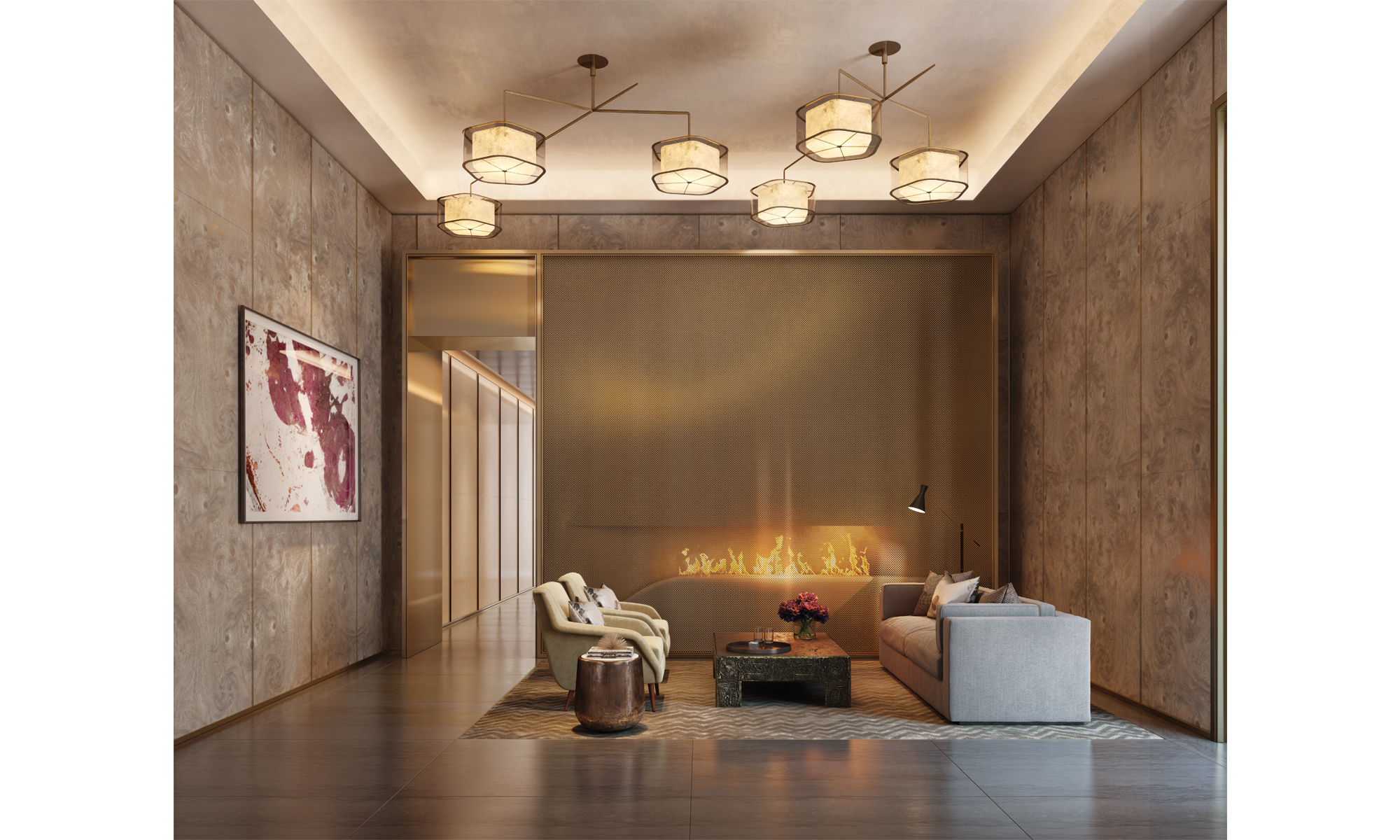 Artist's impression of the reception area with feature fireplace and seating area.