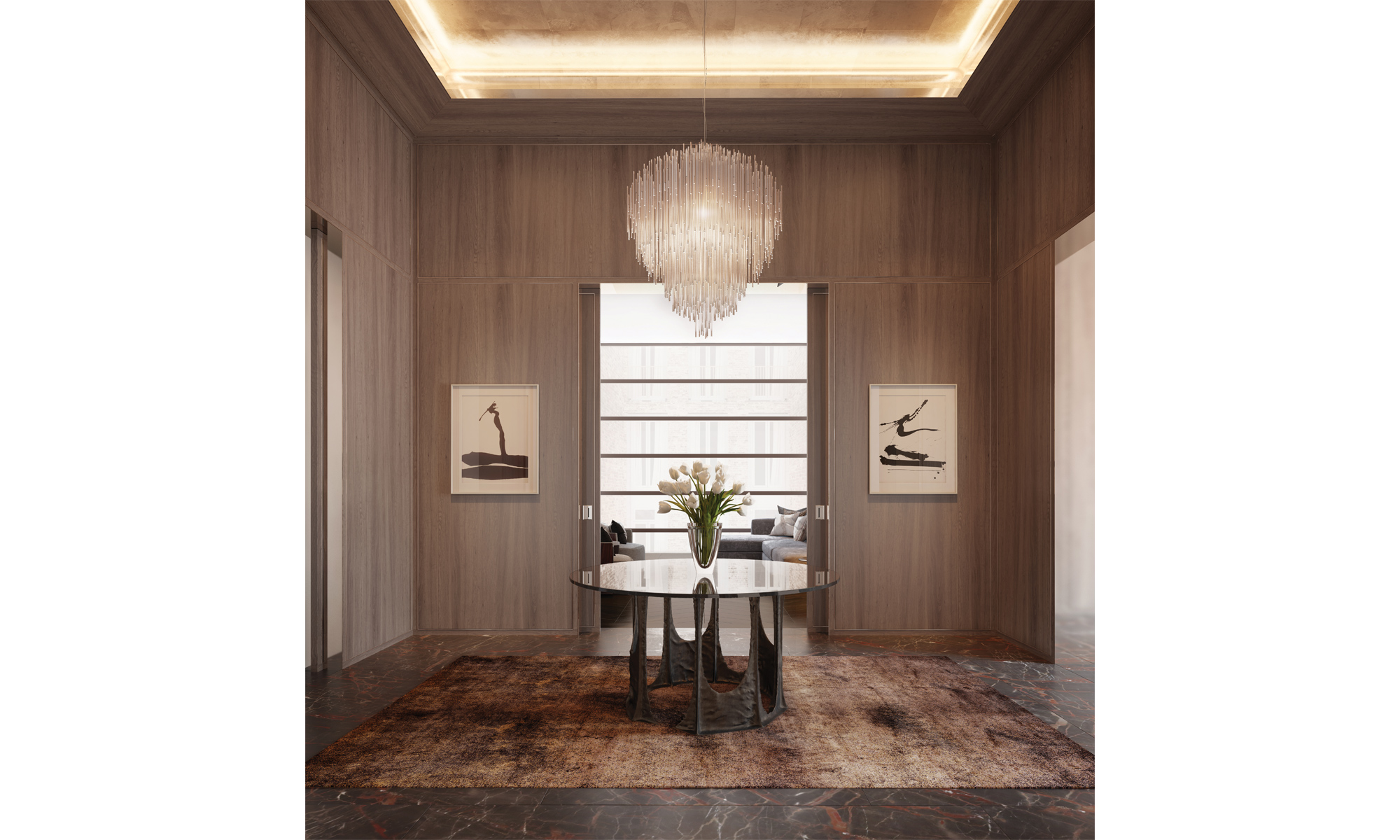 Artist's impression of an apartment entrance lift lobby.