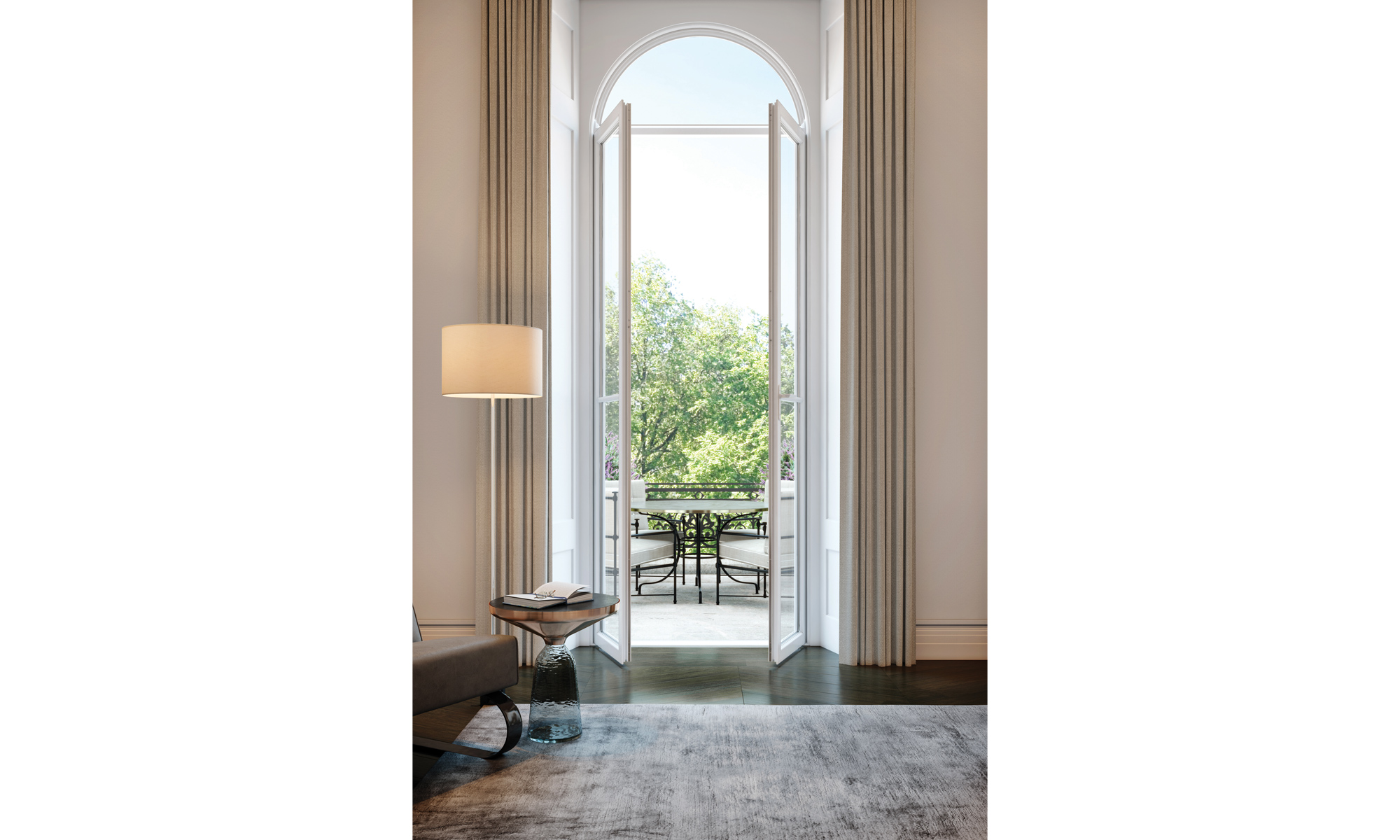 Artist's impression of the formal reception French doors within a lateral apartment.
