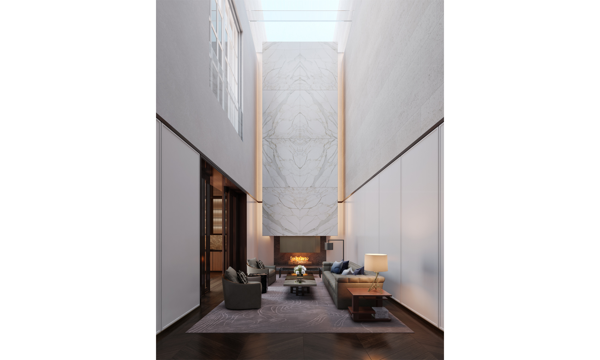 Artist's impression of an atrium reception within a Grand Apartment.