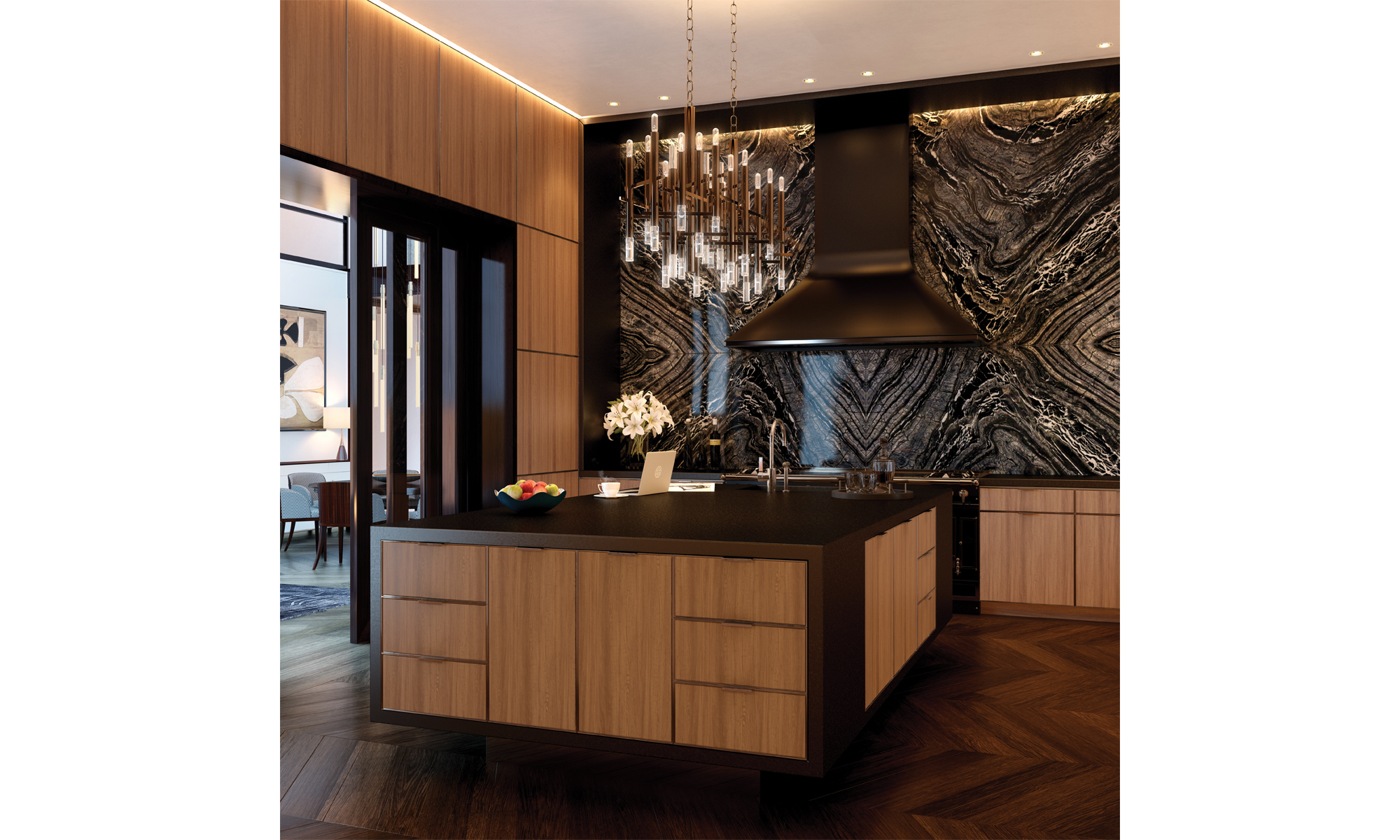 Artist's impression of apartment kitchen with unit-to-ceiling Kenya Black marble splashback.