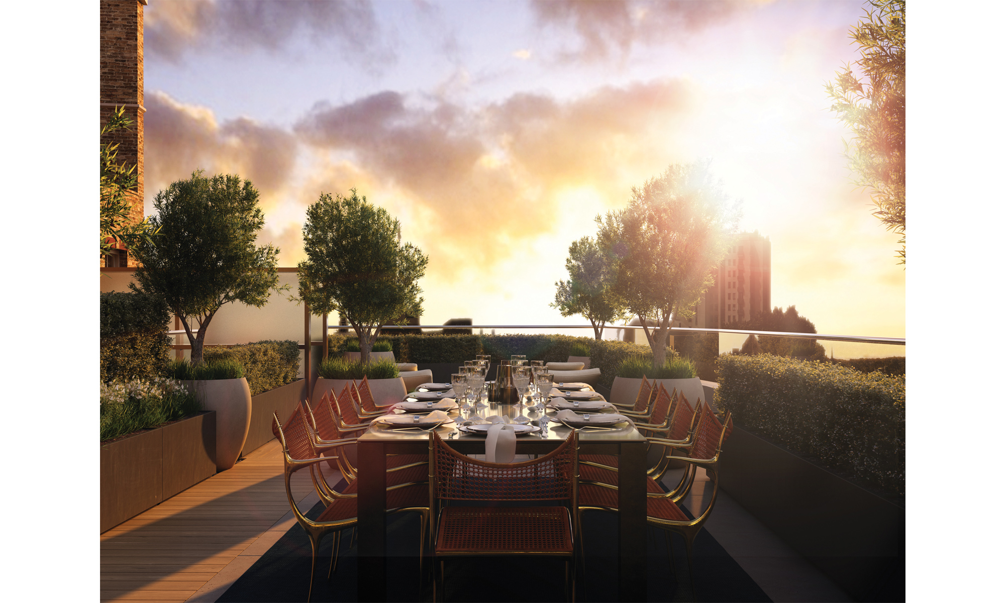 Artist's impression of a rear private terrace.