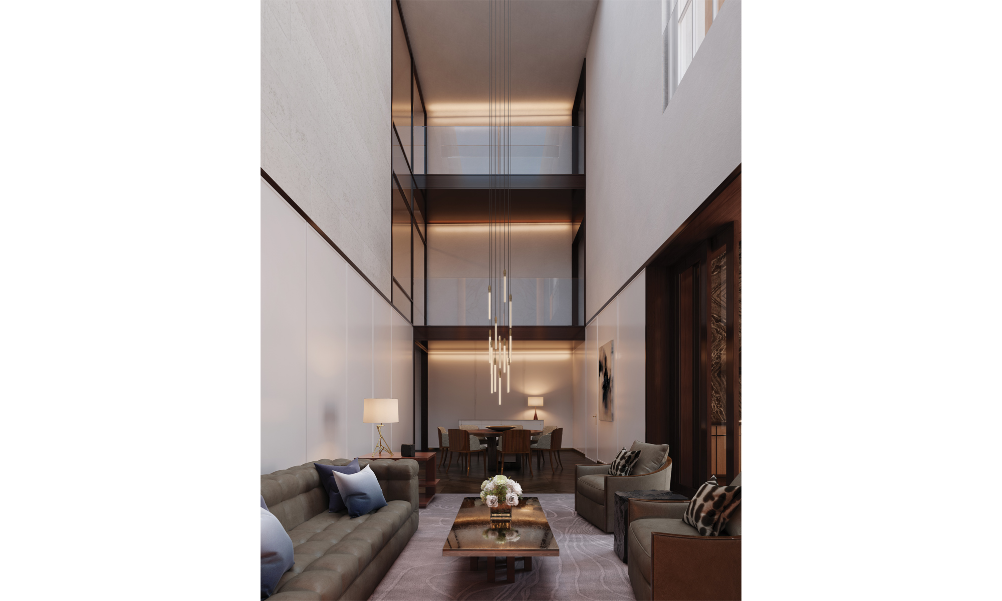Artist's impression of an atrium reception with elevated glass walkways between bedrooms.
